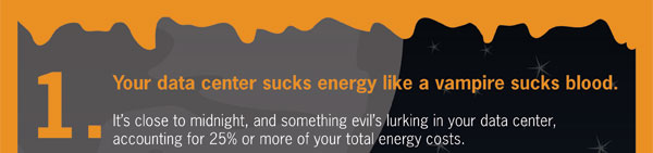 spookyIT_landing_page_02. 1. Your data center sucks energy like a vampire sucks blood. It's close to midnight, and something evil's lurking in your data center, accounting for 25% or more your total energy costs.